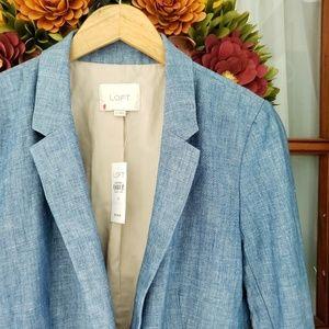 LOFT Blue Chambray Linen Blazer Jacket 6